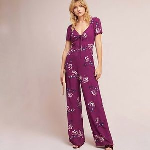 Yumi Kim Sweetheart Floral Jumpsuit Large Purple